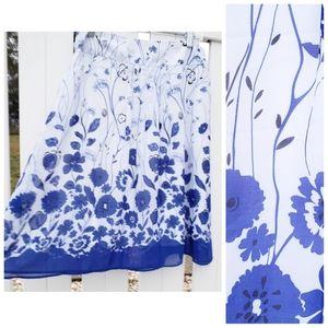 🆕 Dressbarn Blue White A-line Floral Spring Skirt